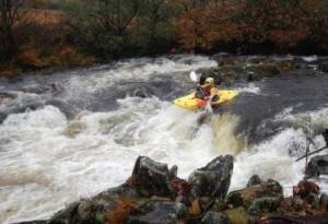 Rachel approaching Duddon Hall Falls Gr IV, R Duddon