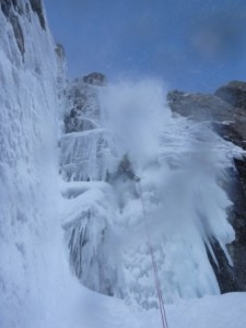 However not free from significant spindrift off the buttress above