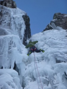 Joe on Waterfall Gully, approached without crossing the widespread building windslab in most other locations.