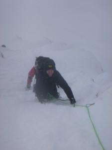 Deep snow on Dorsal Arete