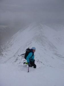 Kerrie heading down Swirral Edge