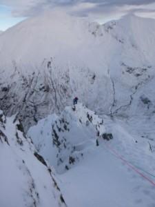 The narrow arête near the top of the East Ridge